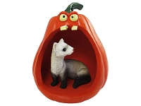 Ferret Halloween Statue Figurine and Spooky Pumpkin