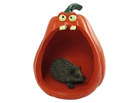Hedgehog Halloween Statue Figurine and Spooky Pumpkin