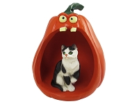 Black & White Shorthaired Tabby Cat Halloween Statue Figurine and Spooky Pumpkin