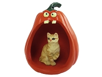 Red Shorthaired Tabby Cat Halloween Statue Figurine and Spooky Pumpkin