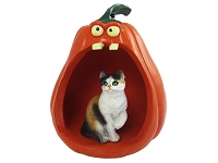 Calico Shorthaired Halloween Statue Figurine and Spooky Pumpkin