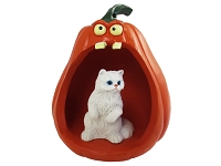 White Persian Halloween Statue Figurine and Spooky Pumpkin