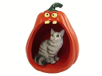 Silver Tabby Maine Coon Cat Halloween Statue Figurine and Spooky Pumpkin