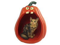 Brown Tabby Maine Coon Cat Halloween Statue Figurine and Spooky Pumpkin