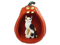 Tortoise & White Japanese Bobtail Halloween Statue Figurine and Spooky Pumpkin