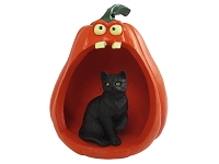 Black Shorthaired Tabby Cat Halloween Statue Figurine and Spooky Pumpkin