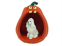 Poodle White Halloween Statue Figurine and Spooky Pumpkin