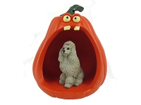Poodle Gray Halloween Statue Figurine and Spooky Pumpkin