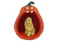 Poodle Apricot Halloween Statue Figurine and Spooky Pumpkin