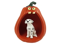 Dalmatian Halloween Statue Figurine and Spooky Pumpkin