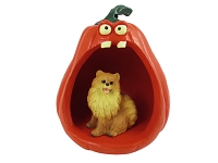 Pomeranian Red Halloween Statue Figurine and Spooky Pumpkin