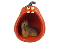 Yorkshire Terrier Halloween Statue Figurine and Spooky Pumpkin