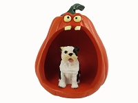 Bulldog Brindle Halloween Statue Figurine and Spooky Pumpkin