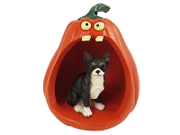 Chihuahua Black & White Halloween Statue Figurine and Spooky Pumpkin