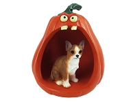 Chihuahua Brindle & White Halloween Statue Figurine and Spooky Pumpkin