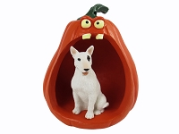 Bull Terrier Halloween Statue Figurine and Spooky Pumpkin