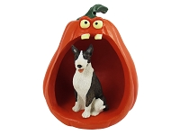 Bull Terrier Brindle Halloween Statue Figurine and Spooky Pumpkin