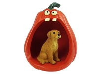 Golden Retriever Halloween Statue Figurine and Spooky Pumpkin