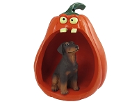 Doberman Pinscher Red w/Uncropped Ears Halloween Figurine and Spooky Pumpkin