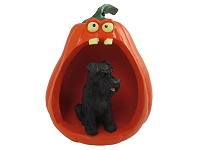 Schnauzer Black w/Uncropped Ears Halloween Statue Figurine and Spooky Pumpkin