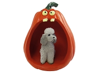 Poodle Gray w/Sport Cut Halloween Statue Figurine and Spooky Pumpkin