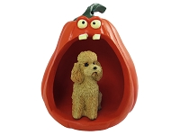 Poodle Apricot w/Sport Cut Halloween Statue Figurine and Spooky Pumpkin