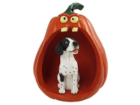 Pointer Black & White Halloween Statue Figurine and Spooky Pumpkin