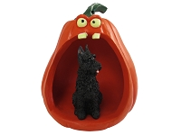 Bouvier des Flandres Halloween Statue Figurine and Spooky Pumpkin