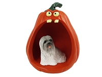 Lhasa Apso Gray Halloween Statue Figurine and Spooky Pumpkin