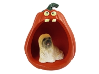 Lhasa Apso Brown Halloween Statue Figurine and Spooky Pumpkin
