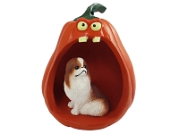 Japanese Chin Red & White Halloween Statue Figurine and Spooky Pumpkin