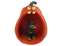 Rottweiler Halloween Statue Figurine and Spooky Pumpkin