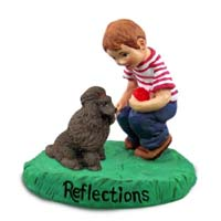 Poodle Chocolate Reflections w/Boy Figurine