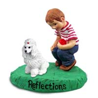 Poodle White Reflections w/Boy Figurine