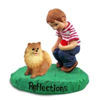 Pomeranian Red Reflections w/Boy Figurine