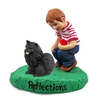 Pomeranian Black Reflections w/Boy Figurine