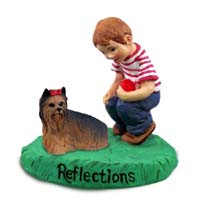 Yorkshire Terrier Reflections w/Boy Figurine