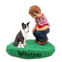 Bull Terrier Brindle Reflections w/Boy Figurine