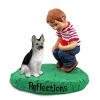 German Shepherd Black & Silver Reflections w/Boy Figurine