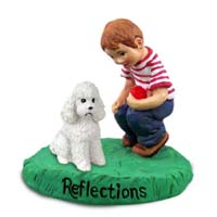 Poodle White w/Sport Cut Reflections w/Boy Figurine
