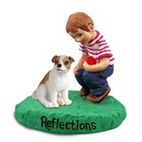 Jack Russell Terrier Brown & White w/Smooth Coat Reflections w/Boy Figurine