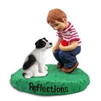 Jack Russell Terrier Black & White w/Smooth Coat Reflections w/Boy Figurine