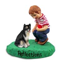 Alaskan Malamute Reflections w/Boy Figurine