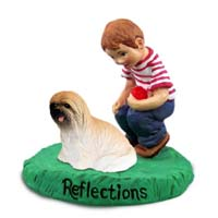Lhasa Apso Brown Reflections w/Boy Figurine