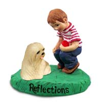 Lhasa Apso Blonde Reflections w/Boy Figurine