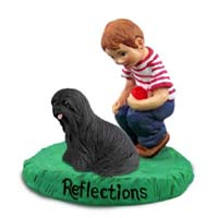 Lhasa Apso Black Reflections w/Boy Figurine