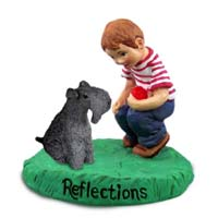 Kerry Blue Terrier Reflections w/Boy Figurine