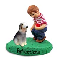 Bedlington Terrier Reflections w/Boy Figurine
