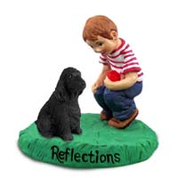 Cocker Spaniel English Black Reflections w/Boy Figurine