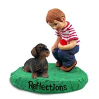 Wire Haired Dachshund Red Reflections w/Boy Figurine